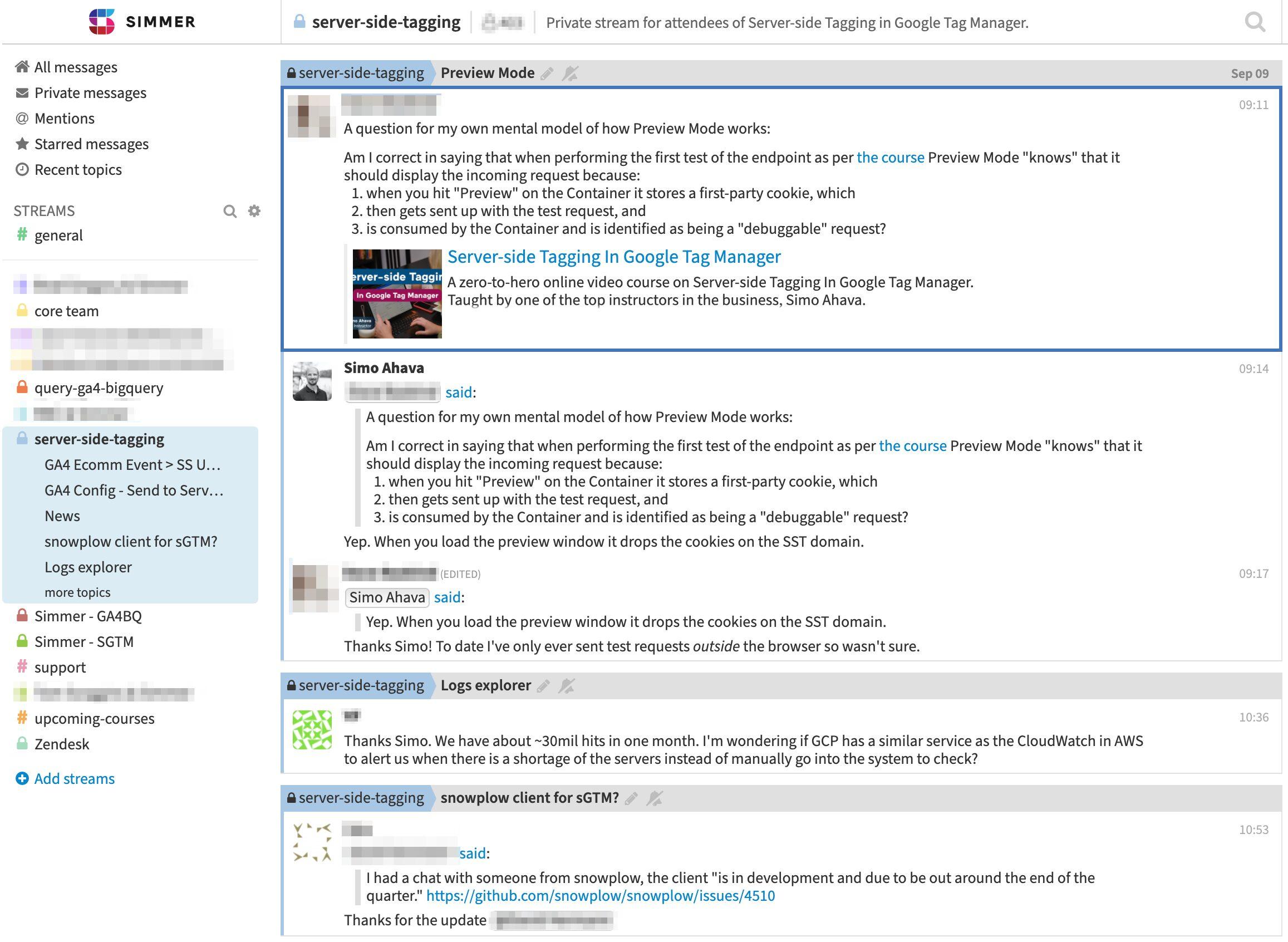 Simmer community server-side tagging
